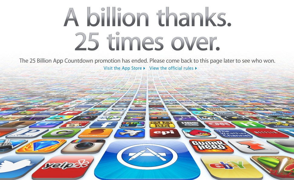 Apple counts down to 25 billionth app download.