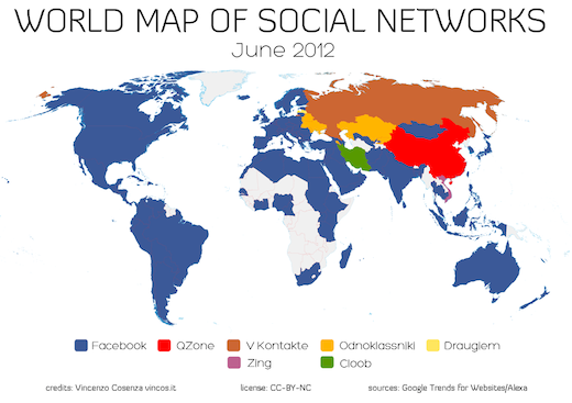 World map of social networks facebook rules the world i2mag the gumiabroncs Image collections