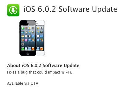 Apple iOS 6.0.2 Software Update