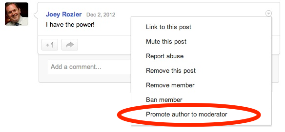 Google Promote Author To Moderator