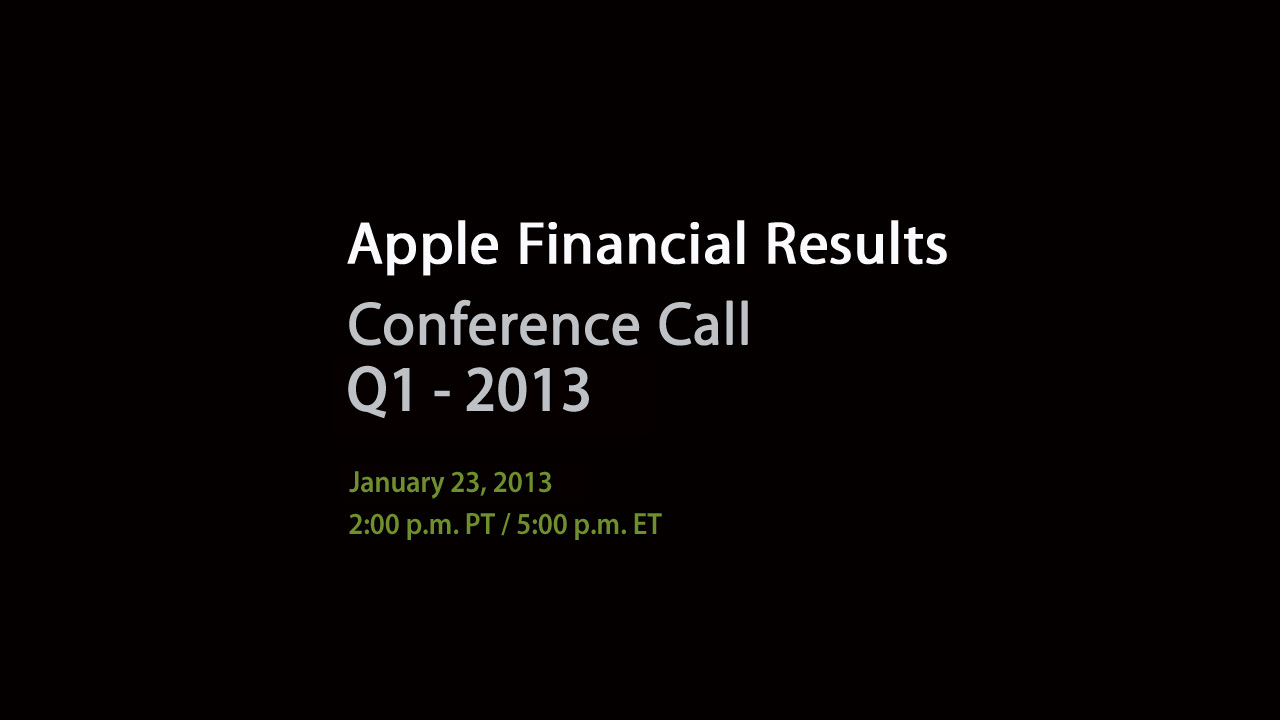 Apple Financial Results Q1 2013