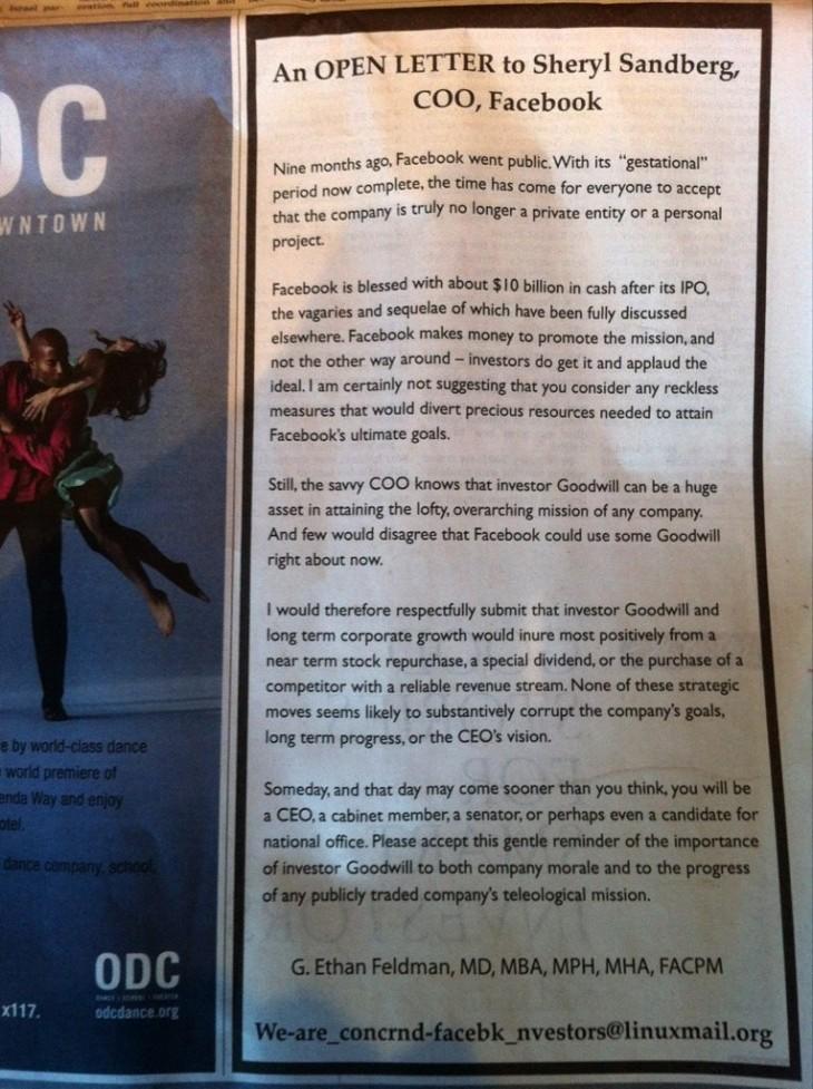 Open letter to Sheryl Sandberg, COO, Facebook