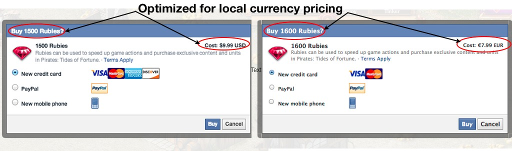 Facebook Credits - Local Currency Pricing
