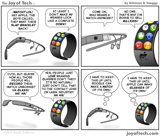 Project Glass Vs iWatch (Comic)