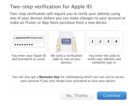 Two-Step Verification Sytem For Apple IDs