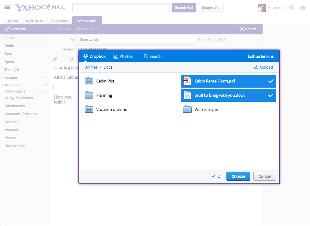 Dropbox + Yahoo Mail