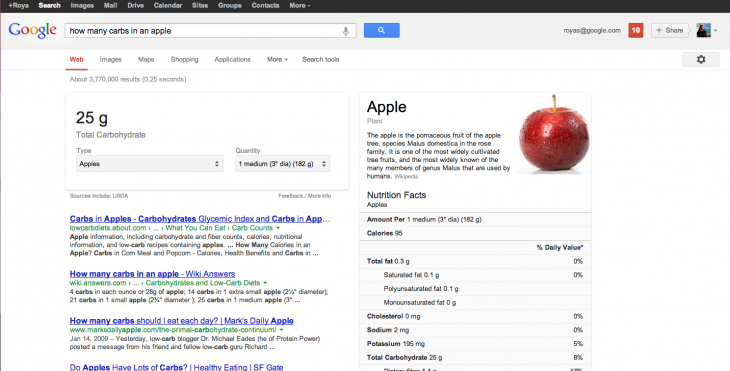 Google-Search-Nutrition-Information