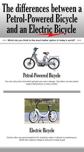The differences between a Petrol-Powered Bicycle and an Electric Bicycle